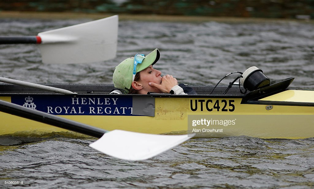 A cox shouts the orders during the Henley Royal Regatta on June 29, 2016 in Henley-on-Thames, England.