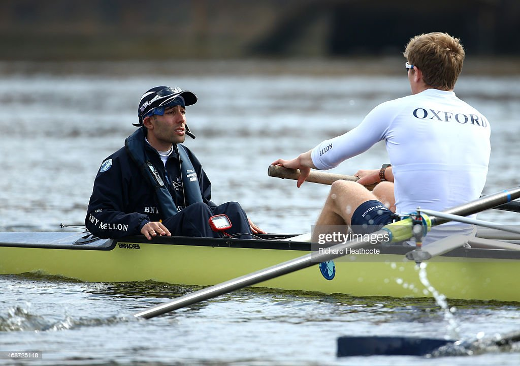 Cox Will Hakim gives instructions during an Oxford men's blue boat training outting ahead of the BNY Melon University Boat Race on The River Thames...
