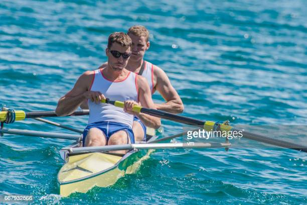 Coxless pair in a rowboat