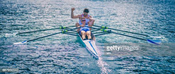 Coxless pair win on a rowboat race