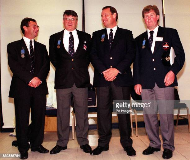 Coxswain Ronald Cannon coxswain William Farquhar helmsman John Foster and coxswain/assistant mechanic Brian Patten who were awarded medal by the...