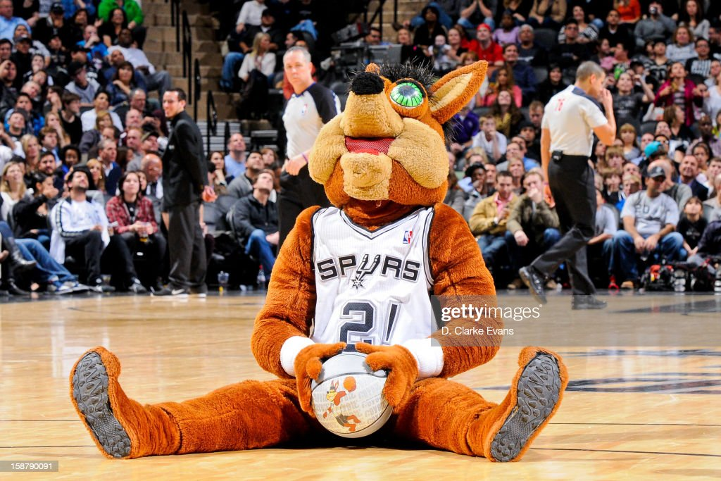Coyote, mascot the San Antonio Spurs, performs during a game against the Houston Rockets on December 28, 2012 at the AT&T Center in San Antonio, Texas.