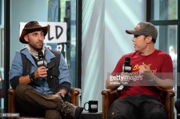 Coyote Peterson and Mark Laivins discuss 'Coyote Peterson's Brave Adventures Wild Animals In A Wild World' at Build Studio on September 15 2017 in...
