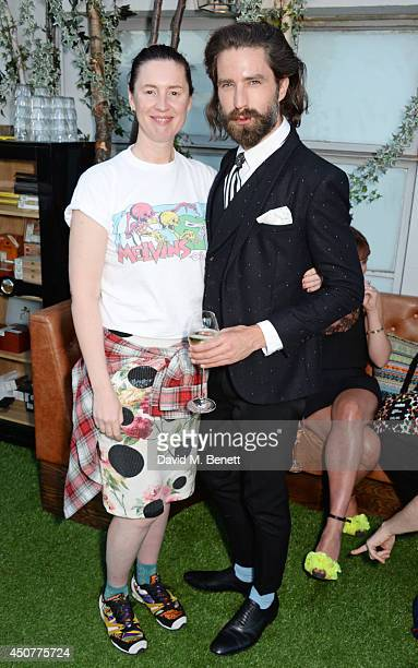 Cozette McCreery and Jack Guinness attend a party hosted by SIBLING LOVE on the rooftop of Selfridges in celebration of LCM at Selfridges on June 17...