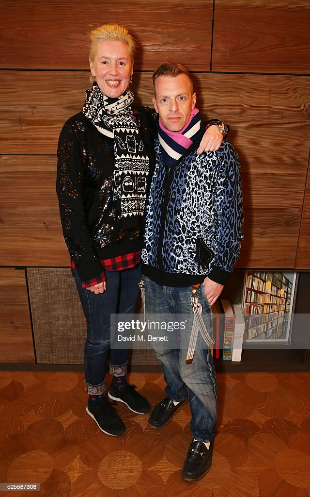 Cozette McCreery (L) and Sid Bryan attend the BFC Fashion Trust x Farfetch cocktail reception on April 28, 2016 in London, England.