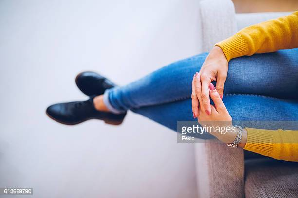 Cozy and stylish woman relaxing