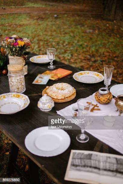 Cozy autumn picnic in the garden