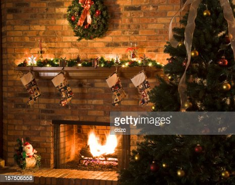 Cozy Christmas Fireplace Scene With Roaring Fire Stock