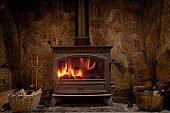 Cozy Fireplace With A Wood Burning Stove