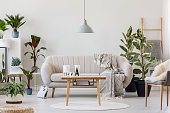 Gray lamp above wooden table near beige sofa in cozy living room interior with plants and white round rug