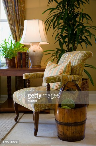 Cozy room corner with arm chair and lamp