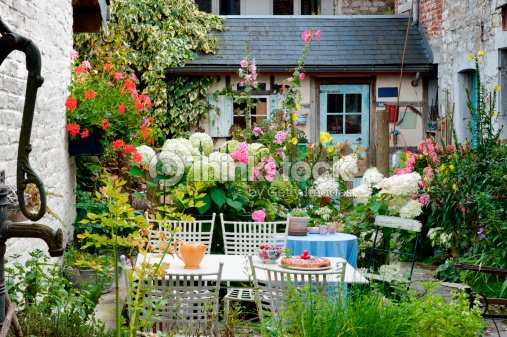 Cozy vintage backyard : Stock Photo