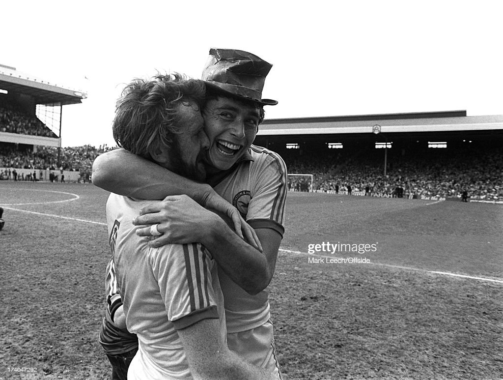 Cp semifinal Brighton Hove Albion v Sheffield Wednesday Albion striker Michael Robinson smiles as he hugs colleague Tony Grealish on the pitch at...