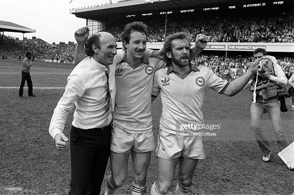 Cp semifinal Brighton Hove Albion v Sheffield Wednesday Albion manager Jimmy Melia with Jimmy Case and smiles as he hugs Tony Grealish on the pitch...
