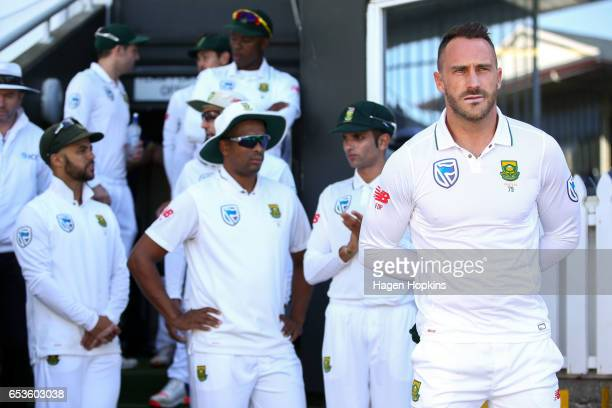 Cpatain Faf du Plessis of South Africa looks on during day one of the Test match between New Zealand and South Africa at Basin Reserve on March 16...