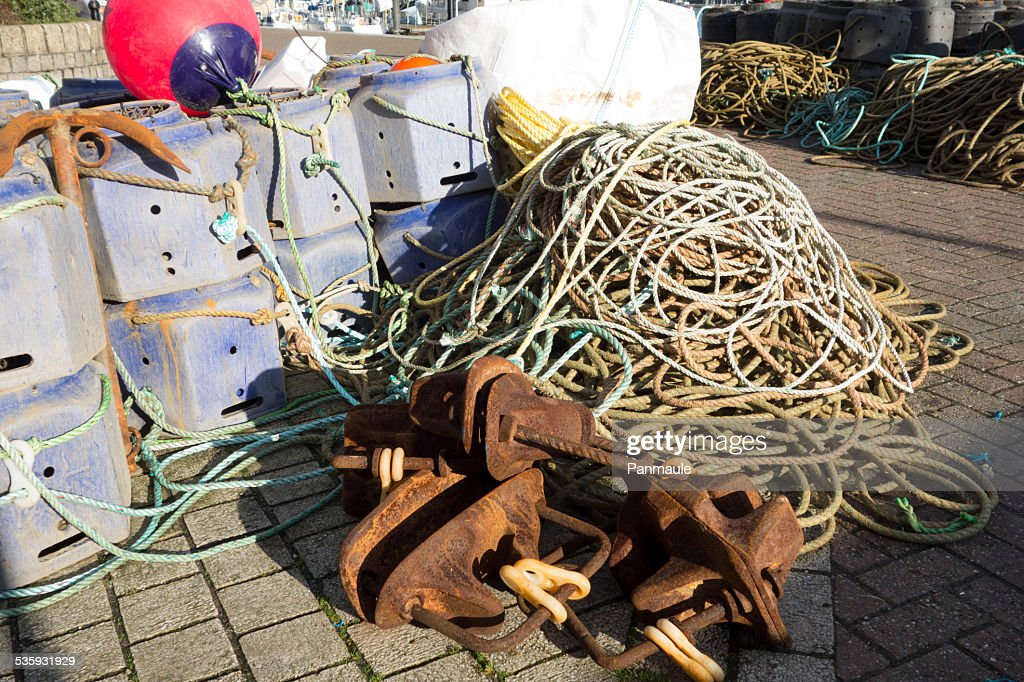 Crab and lobster pots ropes and anchors : Stock Photo