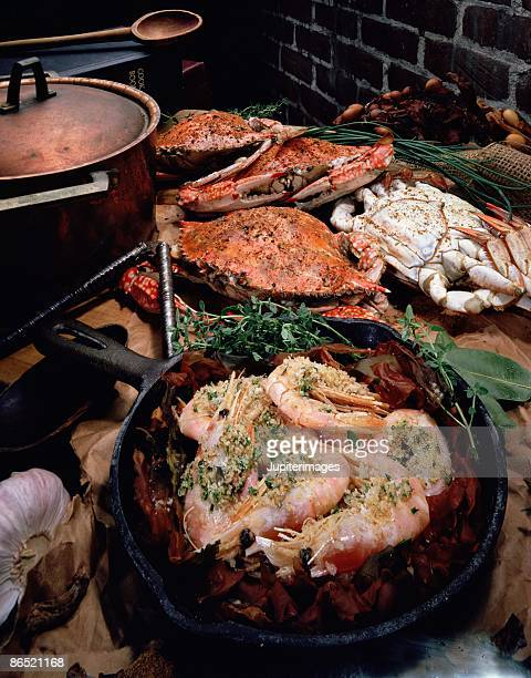 Crab and Shrimp with Rustic Brick Background
