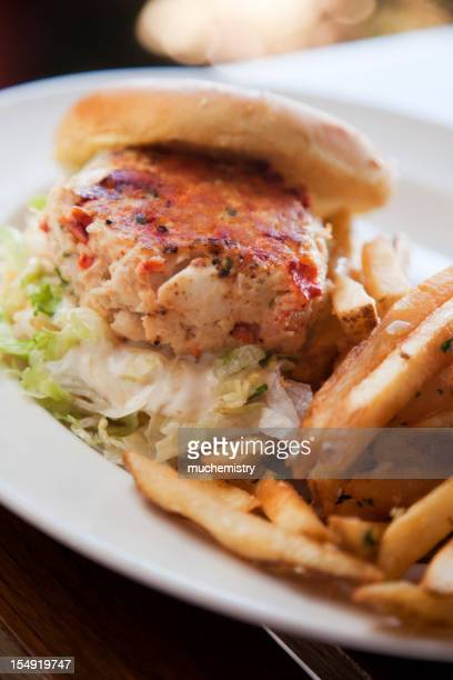 Crab Cake Sandwich with Garlic Fries on White Plate