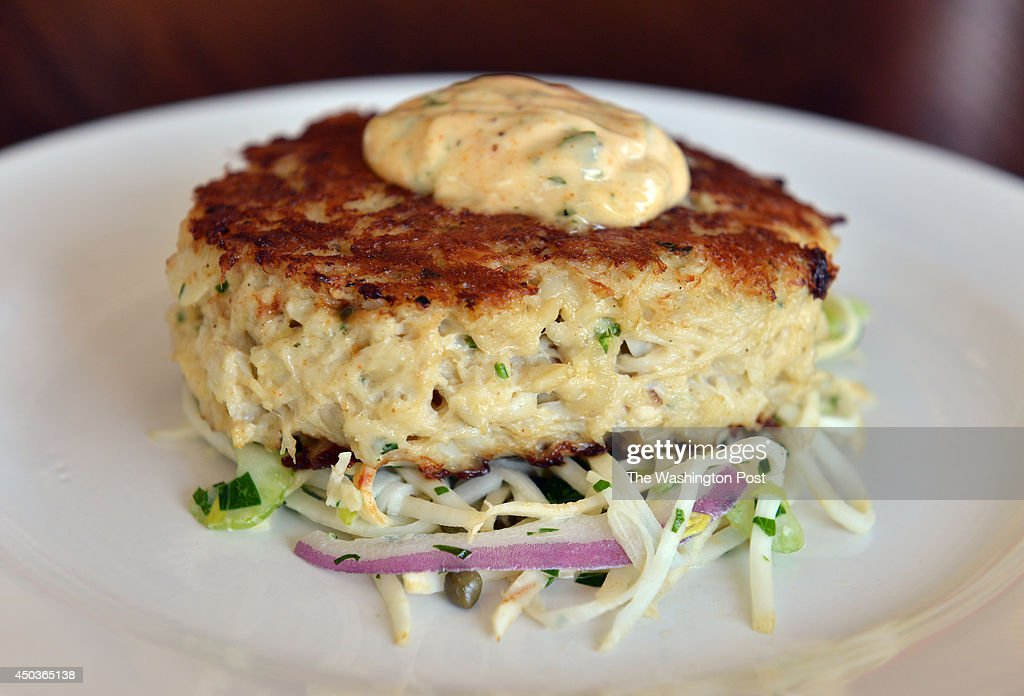 Crab cake with celeriac remoulade at the Rappahannock Oyster Bar inside Union Market on Friday October 5 in Washington DC The bar opened in September...