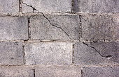 Crack in concrete cinder block wall background.Cement cinder block cracked wall