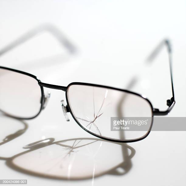 Crack in lens of spectacles, close up