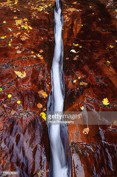 Crack on rock with water flow