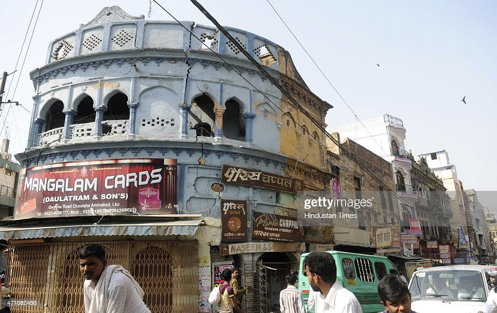 A crack on the building at old city area during the earthquake on April 25 2015 in Lucknow India The quake's epicentre was 80 kilometres northwest of...