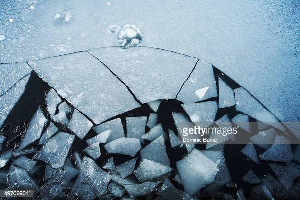 Cracked broken ice on pond