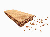Cracked chocolate wafer flavor, Crispy chocolate wafer, Cracked wafer with Clipping path 3d illustration.