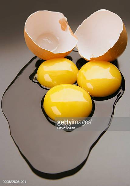Cracked egg with three egg yolks, close-up