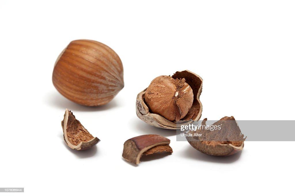 cracked hazelnuts