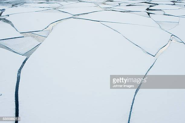 Cracked ice at water