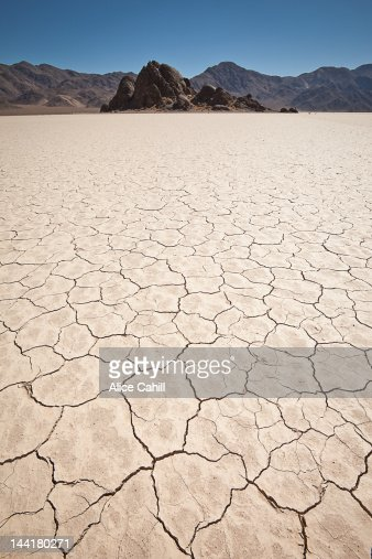 Cracked of dry mud lakebed