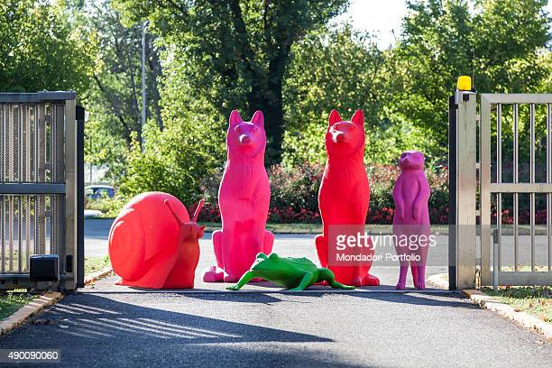 Cracking Art Group animals invade Mondadori Palace by Oscar Niemeyer Arnoldo Mondadori Editore headquarter Segrate September 2015