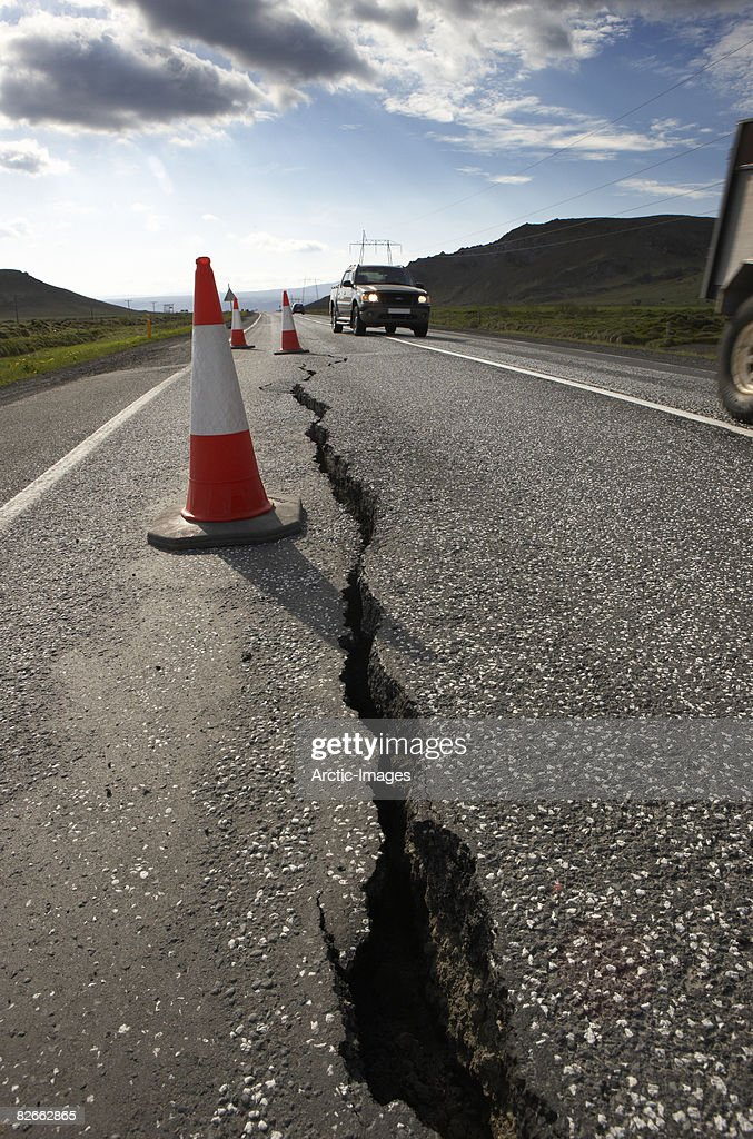 Cracks in road from Earthquake