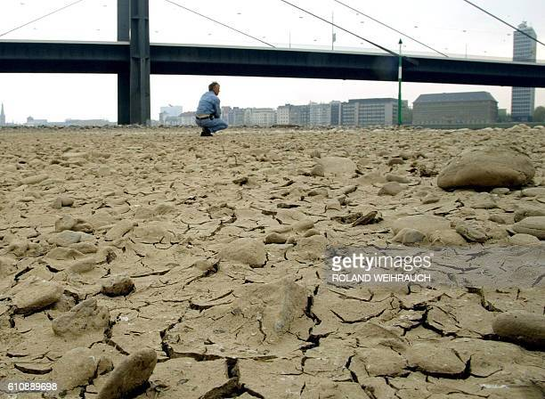 Cracks in the driedout bed of the river Rhine at Duesseldorf 22 April 2003 as water levels continue to drop due to lack of rainfall Many parts of the...