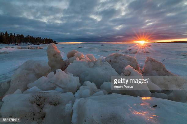 Cracks in the ice at sunset