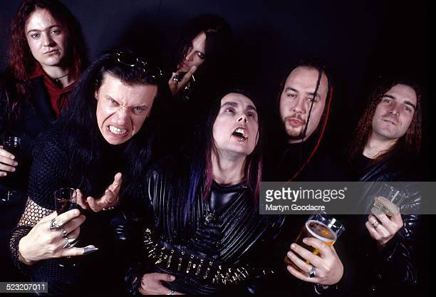 Cradle Of Filth group portrait London United Kingdom 2000 Vocalist Dani Filth is front centre