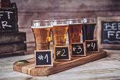 Craft Beer Tasting (Wood Background)Craft Beer Tasting (Wood Background)