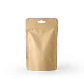 Craft paper pouch bag front view isolated on white background. Packaging template mockup collection. With clipping Path included.