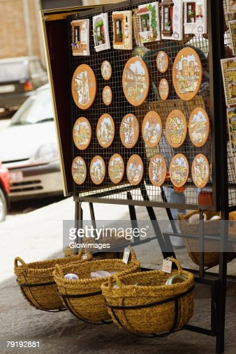 Craft products at a market stall, Toledo, Spain : Stock Photo