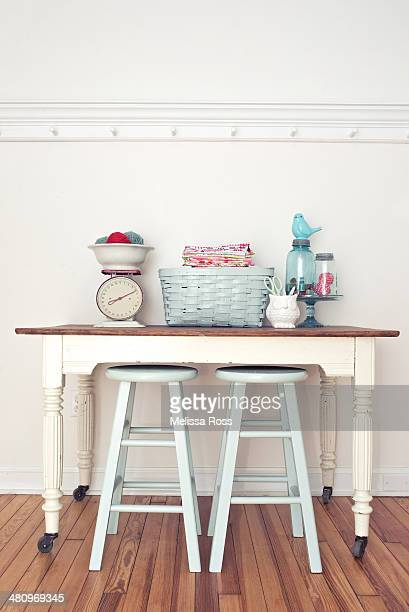 Craft table with vintage sewing supplies