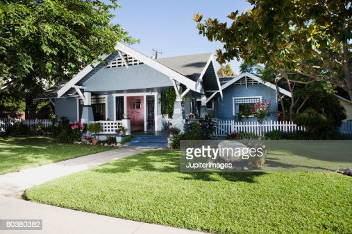 Craftsman home exterior and front yard : Stock Photo