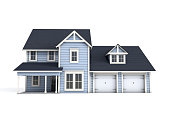 A 3D craftsman style US home on a white background with clipping path and copy space.