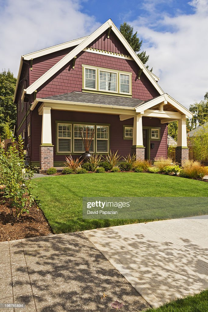 Craftsman-style American home exterior : Stock Photo