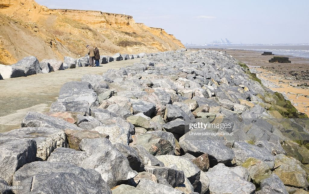 Crag Walk coastal defense and viewpoint structure, Walton on the Naze, Essex, England.