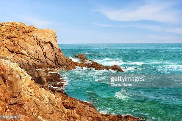 Craggy Rocky Coastal Shoreline in Oaxaca, Mexico