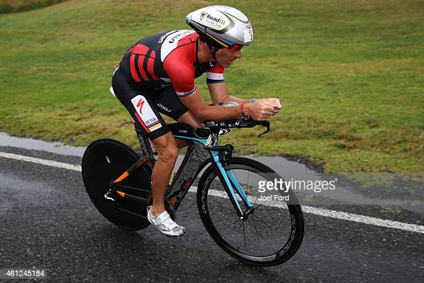 Craig Alexander on the bike leg of the Port of Tauranga Half Ironman on January 10 2015 in Tauranga New Zealand