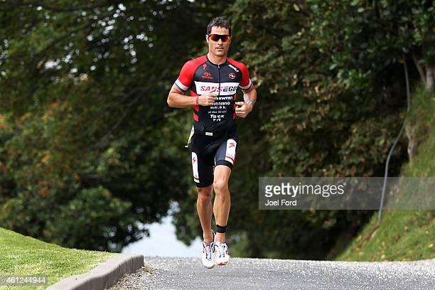 Craig Alexander on the run leg of the Port of Tauranga Half Ironman on January 10 2015 in Tauranga New Zealand