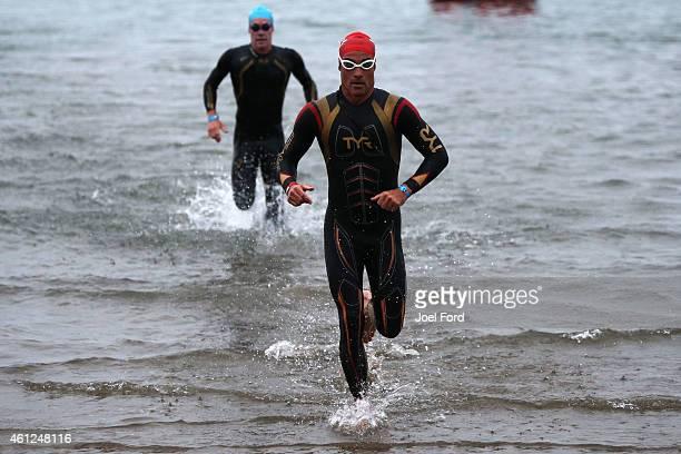 Craig Alexander on the swim leg of the Port of Tauranga Half Ironman on January 10 2015 in Tauranga New Zealand